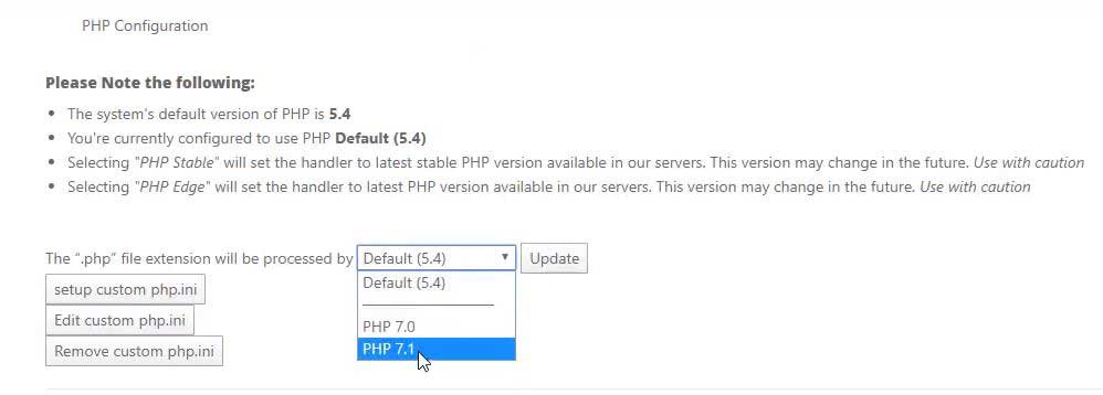 cPanel PHP latest version