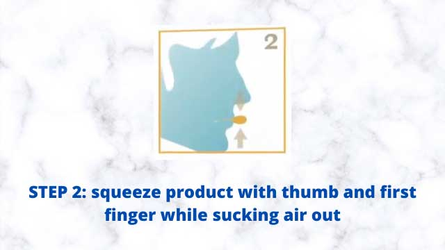 Good Morning Snore Solution Reviews: How to Use - Squeeze product with thumb and first finger while sucking air out