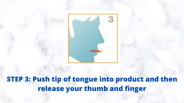 Good Morning Snore Solution Reviews: How to Use - Push tip of tongue into product and then release your thumb and finger