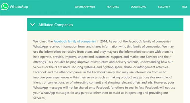 WhatsApp privacy policies and conditions Affiliated Companies