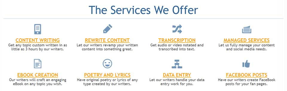 hirewriters offers services