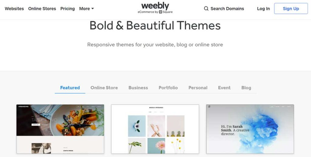 Weebly vs WordPress: Weebly Themes