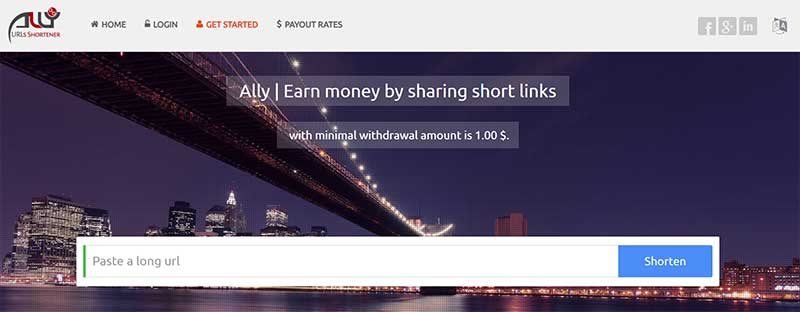 Best Link and URL Shortener to Earn Money: Ally