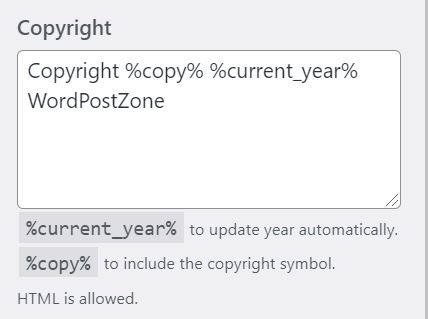Edit, Change, Remove Footer Copyright Text In WordPress Customize