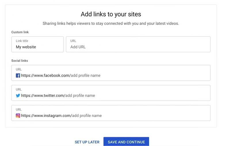 How to Create a YouTube Channel: Add Links to Your Sites