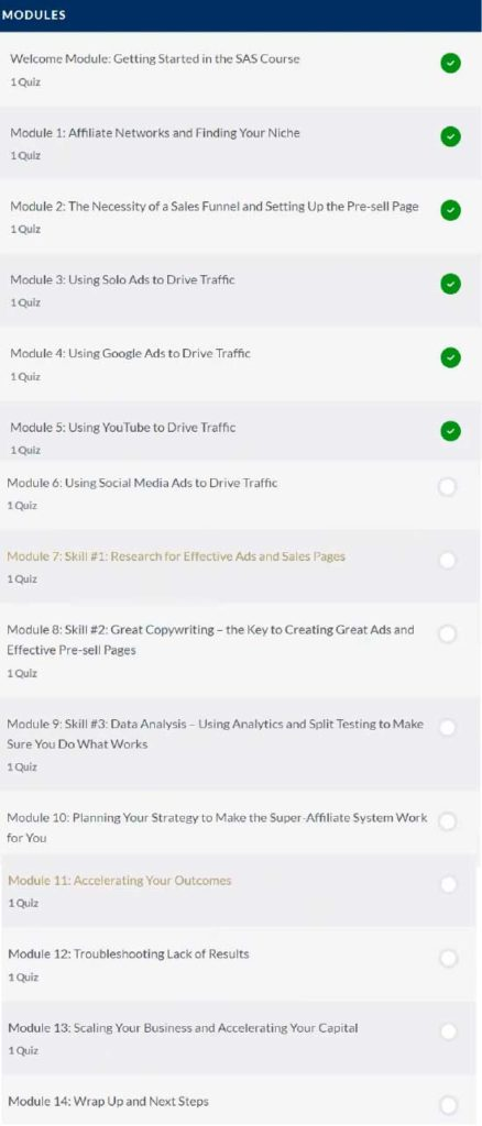 Super Affiliate System Pro Review: Modules