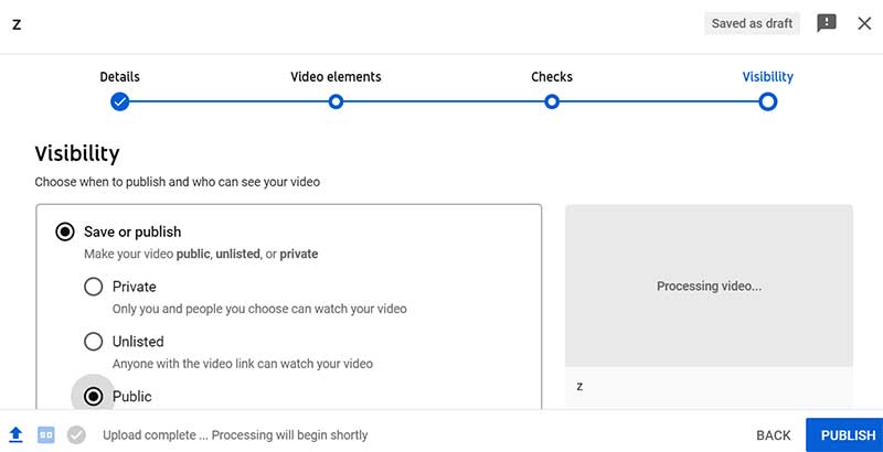 How to Create a YouTube Channel: Upload a Video on YouTube - Visibility