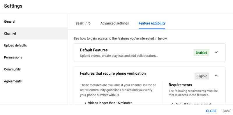 How to Create a YouTube Channel: YouTube Studio Settings Channel Feature Eligibility