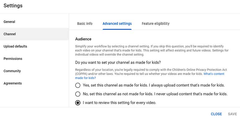 How to Create a YouTube Channel: YouTube Studio Settings Channel Advanced Settings