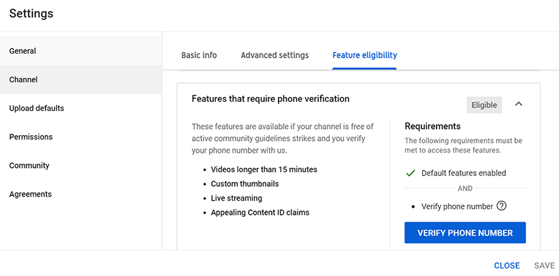 How to Create a YouTube Channel: YouTube Studio Settings Channel Features that require Phone Verification