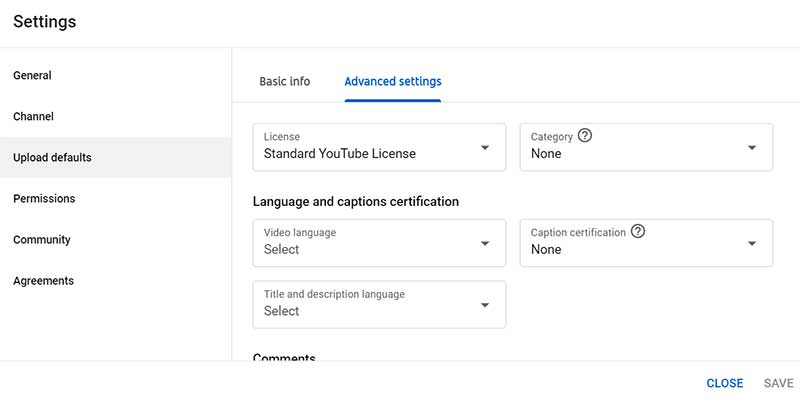 How to Create a YouTube Channel: YouTube Studio Settings Upload Defaults Advanced Settings